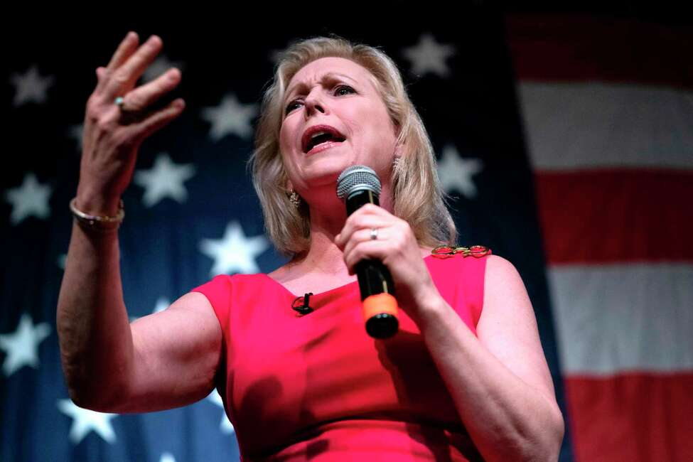 (FILES) In this file photo taken on August 9, 2019 2020, Democratic presidential hopeful US Senator for New York Kirsten Gillibrand speaks at the Wing Ding Dinner in Clear Lake, Iowa. - Gillibrand announced on August 28, 2019, via a video on her twitter account she is dropping out of the 2020 Democratic presidential nomination. (Photo by ALEX EDELMAN / AFP)ALEX EDELMAN/AFP/Getty Images
