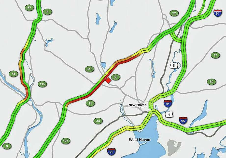 Northbound lanes of the Wilbur Cross Parkway are closed because of a motorcycle crash on Tuesday, Sept. 3, 2019. Photo: SigAlert