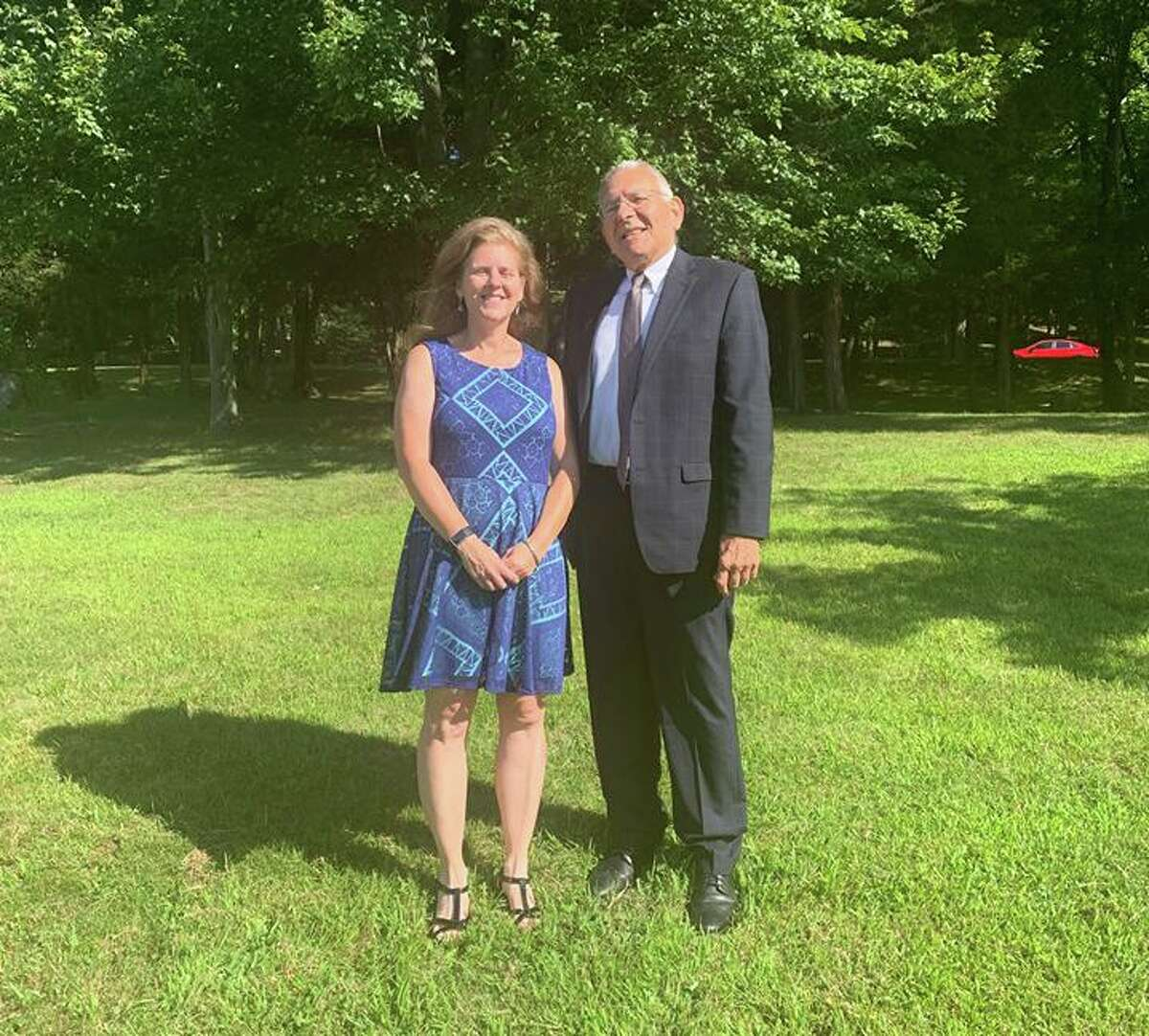 Trumbull's Teacher of the Year Lisa Cerulli, with Schools Superintendent Gary Cialfi. Cerulli, a social studies teacher at Madison Middle School, now moves on to the statewide Teacher of the Year competition.