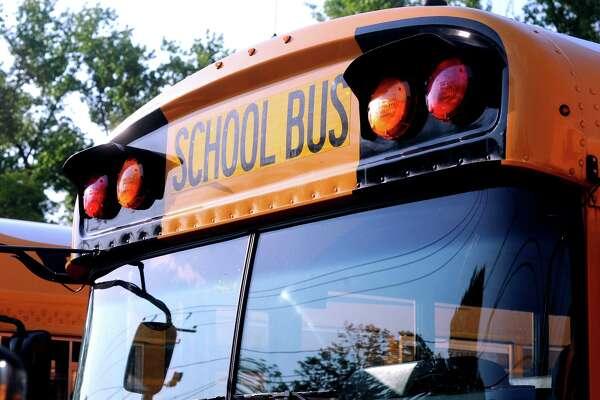 A City of Shelton school bus parked in Shelton, Conn. June 7, 2018.