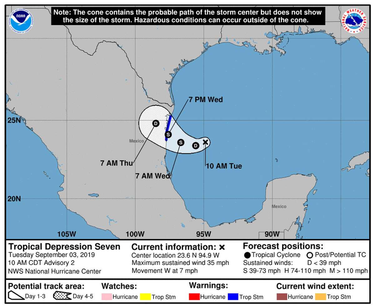 Tropical Depression Seven formed in the Gulf of Mexico on Tuesday, Sept. 3, 2019.