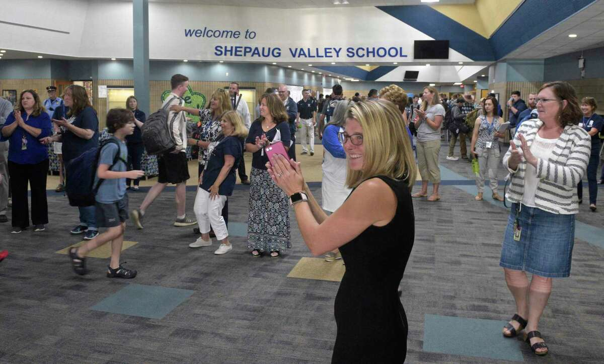 Region 12 Superintendent Megan Bennett was on hand to welcome students on their first day of school at Shepaug Valley School. Tuesday, September 3, 2019, in Washington, Conn.