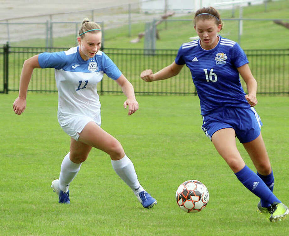 LCCC's Candice Parziani (11) scored a goal in her team's loss Saturday to Laramie County, Wyoming in Wichita, Kansas. She is shown in action last week against Iowa Lakes College. The Trailblazers will face first-year Region 24 team Lincoln Trail Wednesday in Robinson, Ill. Photo: Pete Hayes | The Telegraph
