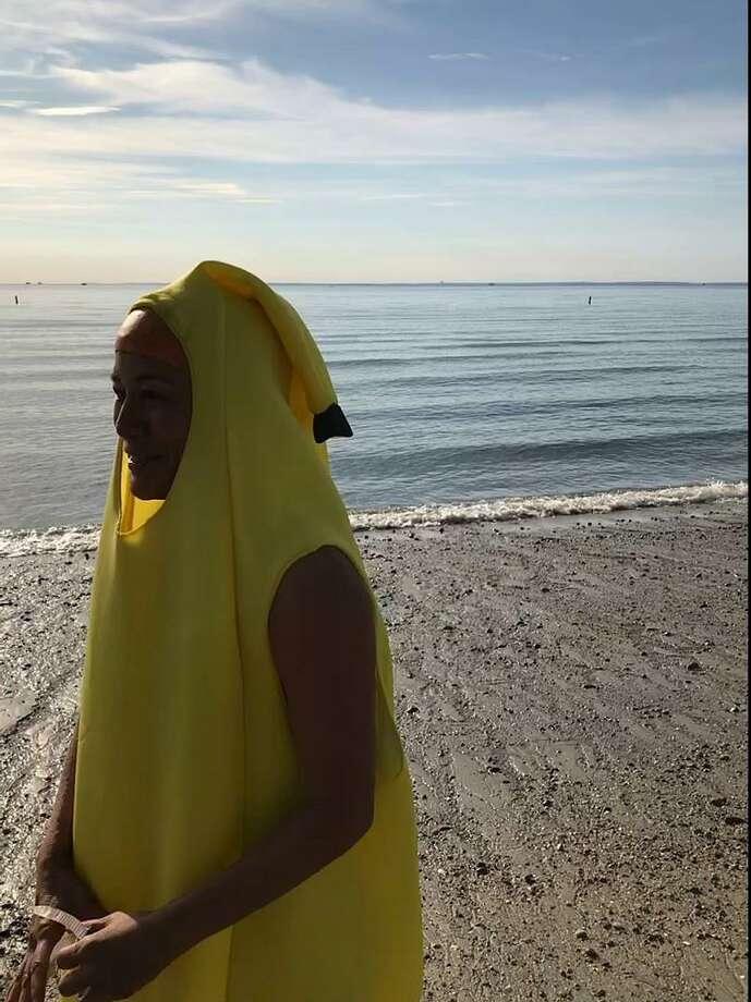 Jana Ireijo of Westport wears a banana suit at Compo Beach, in preparation for a myTeamTriumph triathlon. Photo: Jordan Fenster/Hearst Connecticut Media