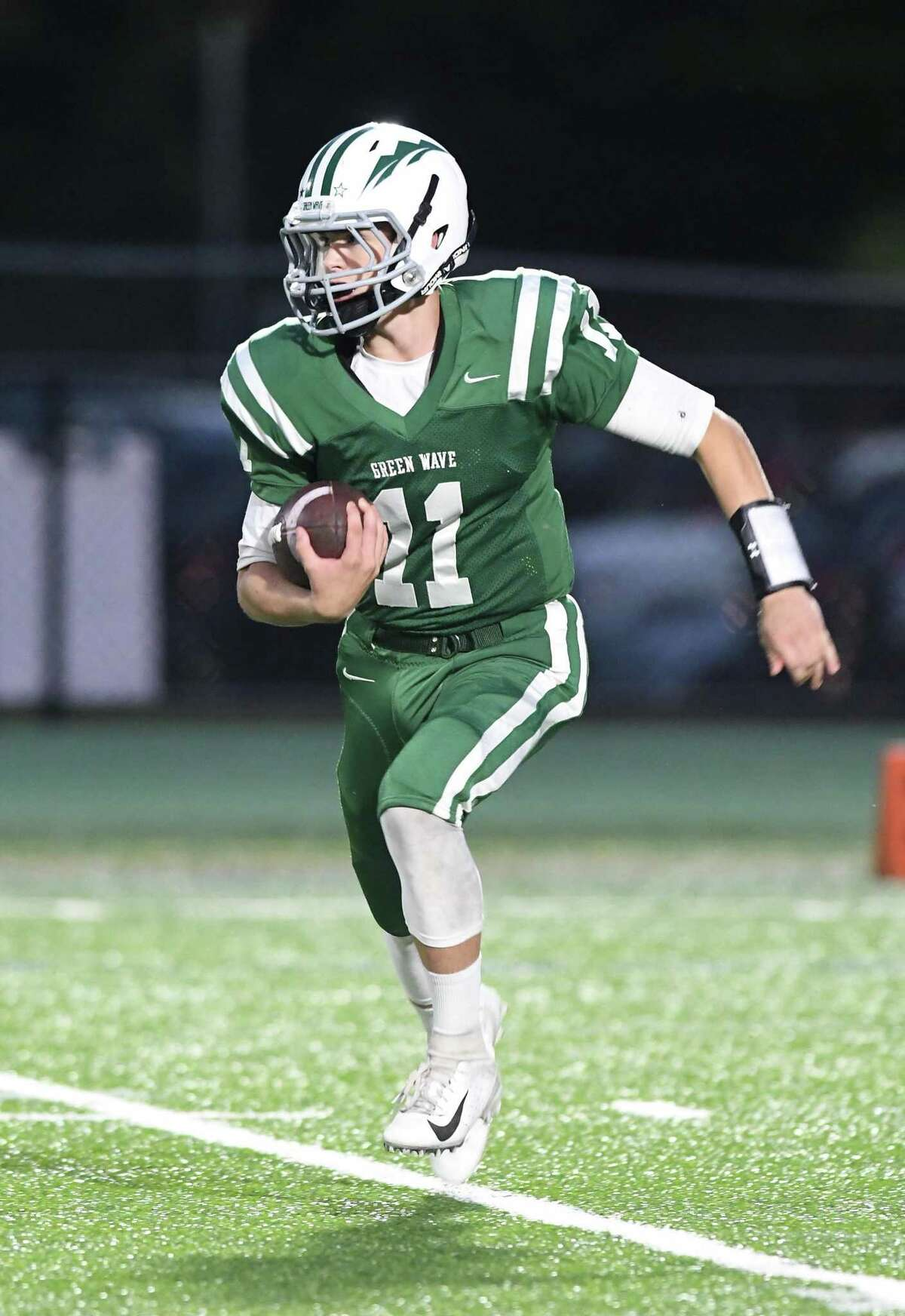 New Milford's Nathan Lawson will be one of senior quarterback JT Snowden's favorite targets this season.