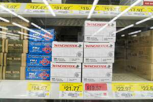 Walmart in Fort Worth selling a variety of handgun ammunition, Texas, 26th June 2015. (Photo by Barbara Alper/Getty Images)