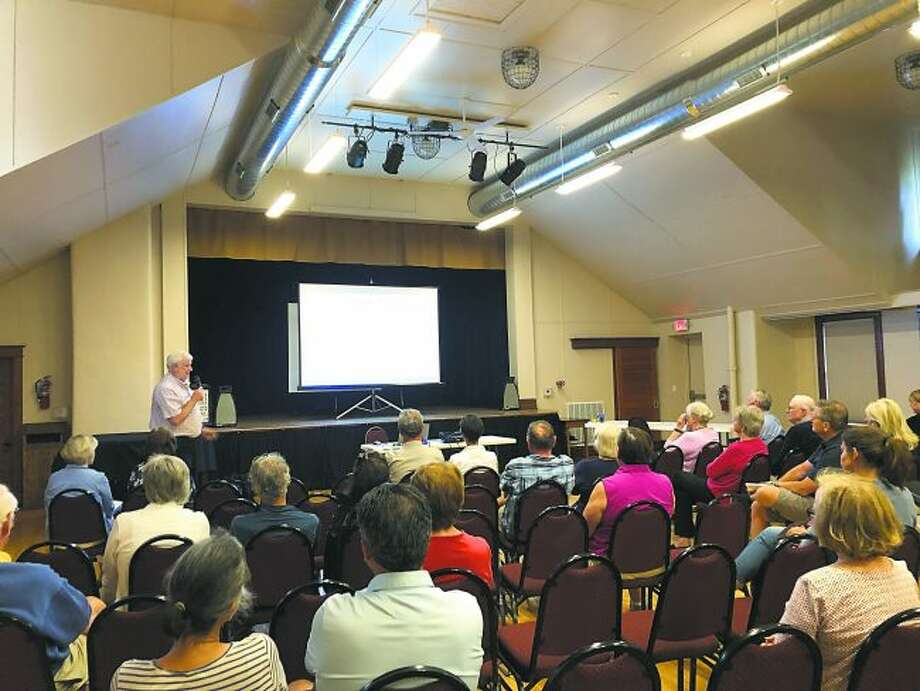 Stu Issac, of the Isaac Sports Group, fields a questions from the public about the feasibility study and potential of a Benzie Aquatics Center at an open forum on July 30. (Courtesy photo)