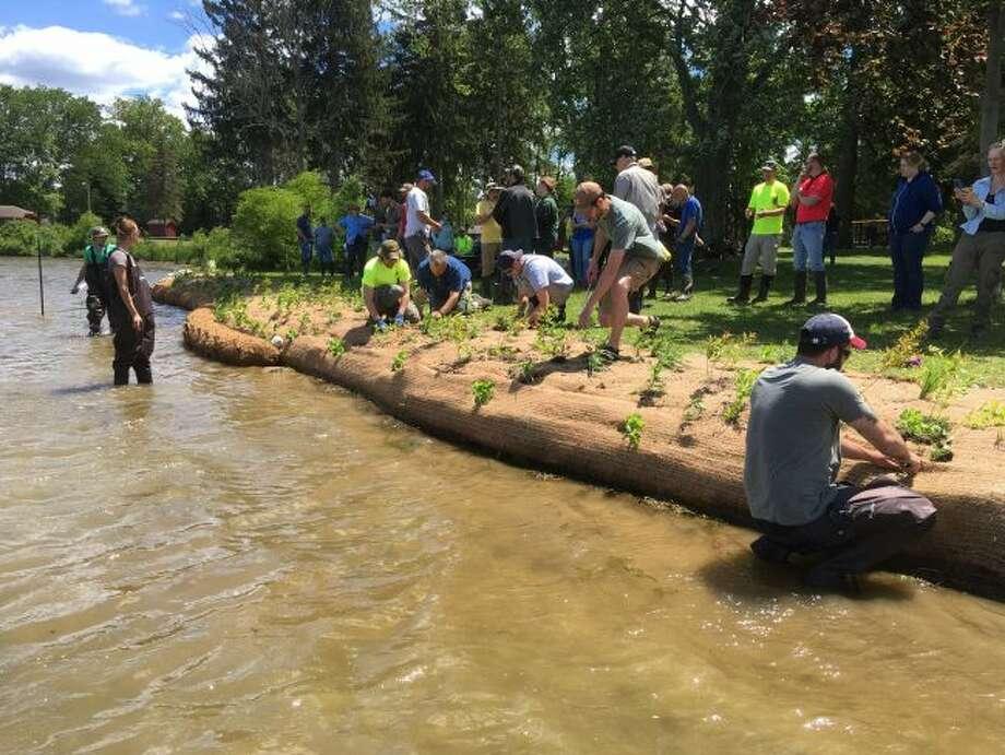 Contractors restore a lake shoreline using bioengineering to improve habitat for fish, amphibians and other aquatic species. (Courtesy Photo)