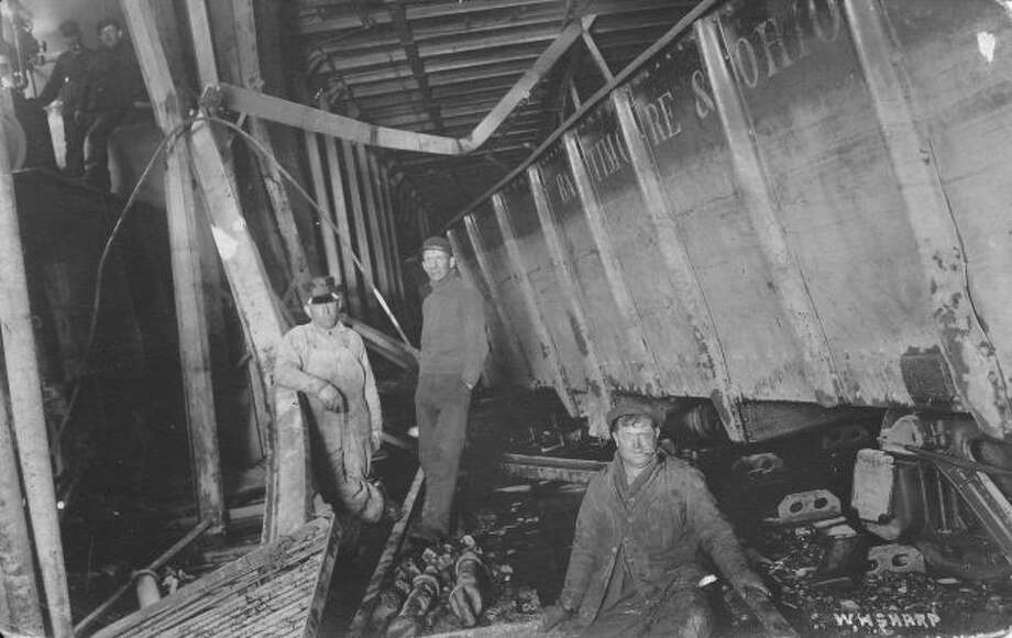 This is what could happen to the car deck of the Ann Arbor ferries when rail cars broke loose during a stormy crossing. Note the bent steel beams and pillars. (Courtesy Photo/Benzie Area Historical Society)