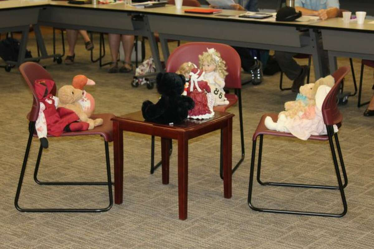 During the HSCB meeting, a visual family was placed at the center of the room - a table and a few chairs with stuffed animals in various shapes, sizes and colors that was a representation of the families and individuals the agencies served. (Courtesy photo)
