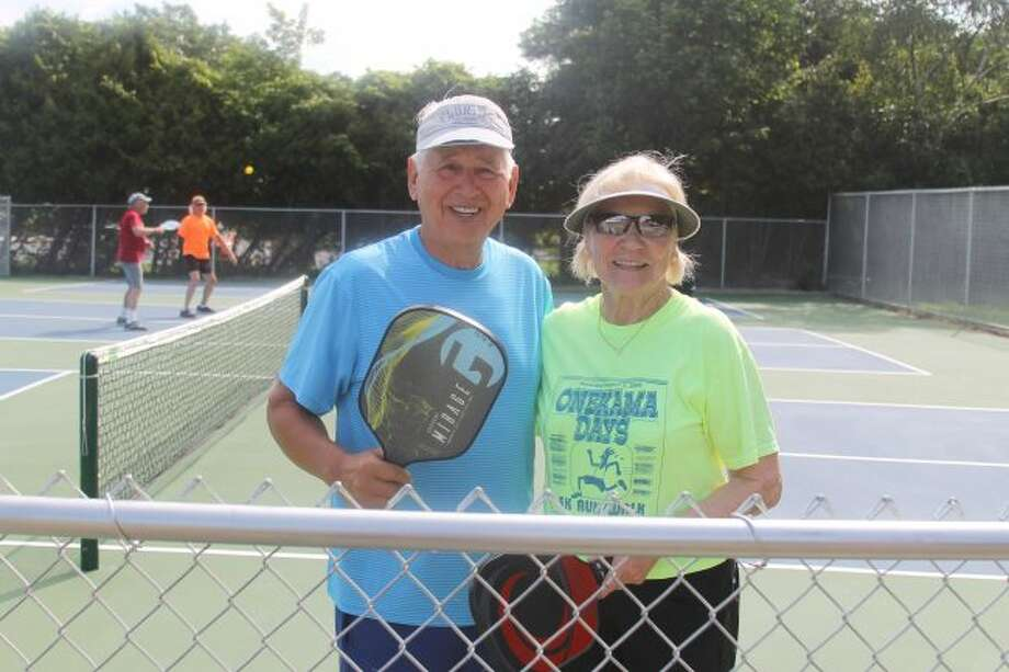 Pickleball enthusiasts, Pete Ramon and Peggy Acton championed construction of the new courts. (Scott Fraley/News Advocate)
