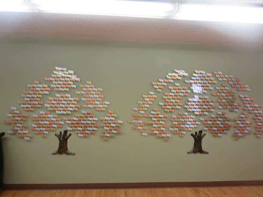 Featured are memorial trees at the Mecosta County Commission on Aging with names of people who have passed away. Family and friends of loved ones have made donations in their names to the COA activities center. (Courtesy photo)