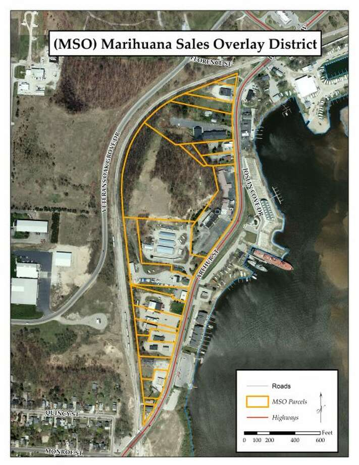 The Manistee Marijuana Sales Overlay district is outlined in yellow. (Courtesy map)