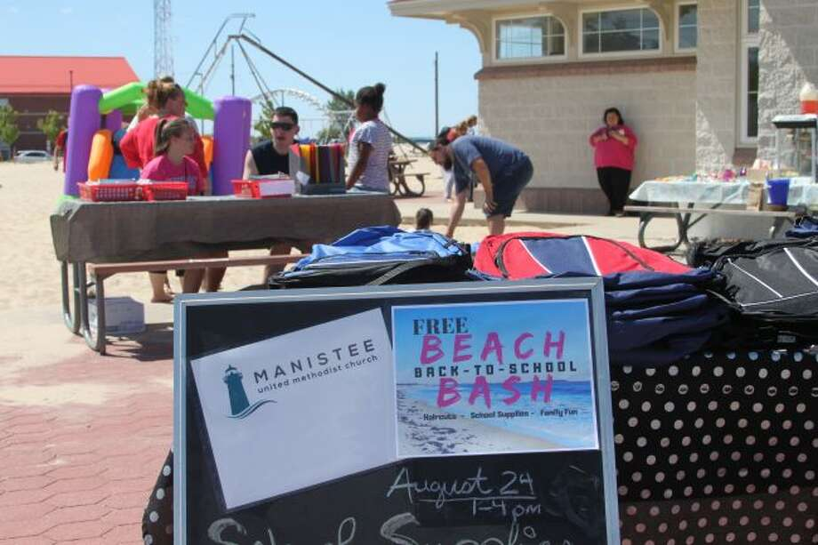 Manistee's United Methodist Church gave away free school supplies and backpacks on Saturday. (Ashlyn Korienek/News Advocate)