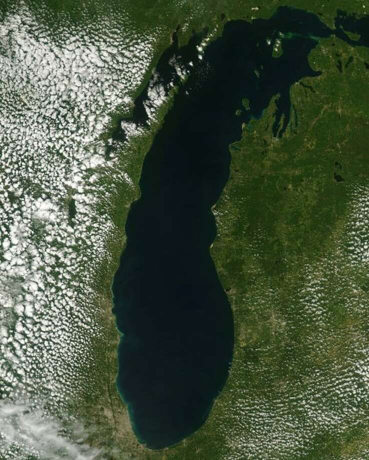 Pictured is a satellite view of Lake Michigan via the Great Lakes Region National Oceanic and Atmospheric Administration satellite. (Courtesy Photo/NOAA CoastWatch)