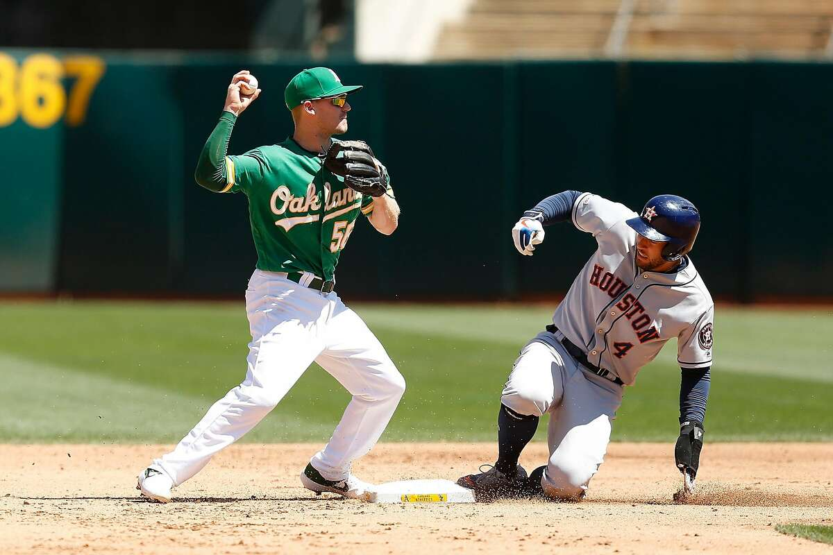 OAKLAND, CALIFORNIA - AUGUST 18: Corban Joseph #56 of the Oakland Athletics gets the force out of George Springer #4 of the Houston Astros at second base in the top of the fifth inning at Ring Central Coliseum on August 18, 2019 in Oakland, California. (Photo by Lachlan Cunningham/Getty Images)