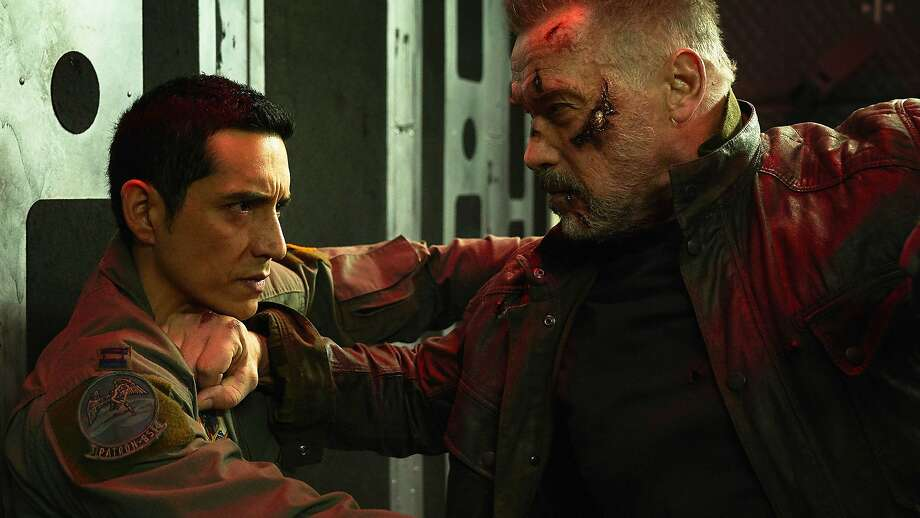 "Arnold Schwarzenegger and Gabriel Luna, left, star in Paramount Pictures and Skydance Media's ""Terminator: Dark Fate.""  Photo: Kerry Brown, TNS"
