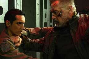 "Arnold Schwarzenegger and Gabriel Luna, left, star in Paramount Pictures and Skydance Media's ""Terminator: Dark Fate."" (Kerry Brown/Paramount Pictures/TNS)"