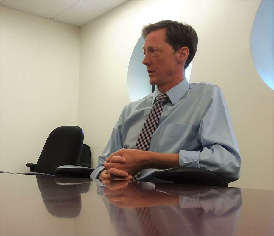 New Haven mayoral candidate Justin Elicker speaks to the New Haven Register Editorial Board before the 2019 primary. Photo: Helen Bennett