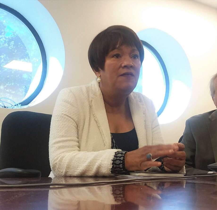 New Haven Mayor Toni N. Harpspeaks to the New Haven Register Editorial Board before the 2019 primary. Photo: Hearst Connecticut Media