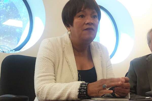 New Haven Mayor Toni N. Harpspeaks to the New Haven Register Editorial Board before the 2019 primary.
