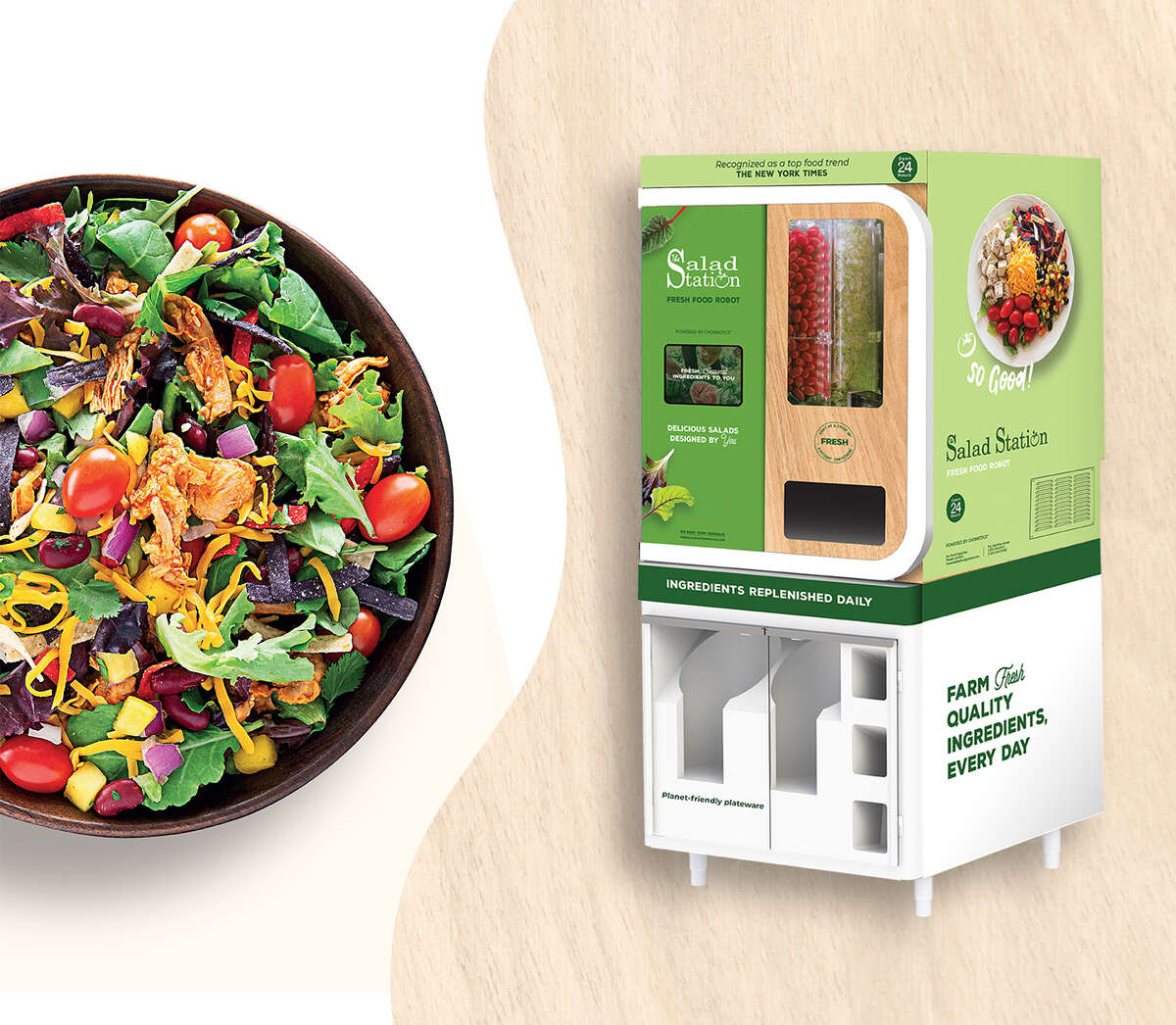 The Salad Station, a Louisiana-based fast-casual restaurant chain, plans to install 100 salad-making robots in the Houston area.