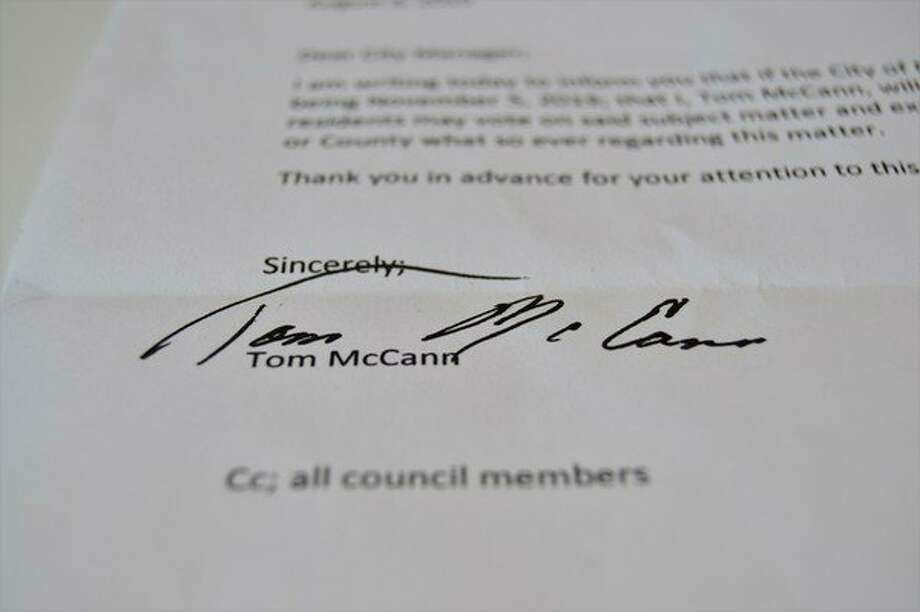 "Midland resident and owner of McCann Real Estate Rental, Tom McCann, sent a letter to the City of Midland offering to pay for the ""road diet issue"" to appear on an election ballot. (Ashley Schafer/Ashley.Schafer@hearstnp.com)"