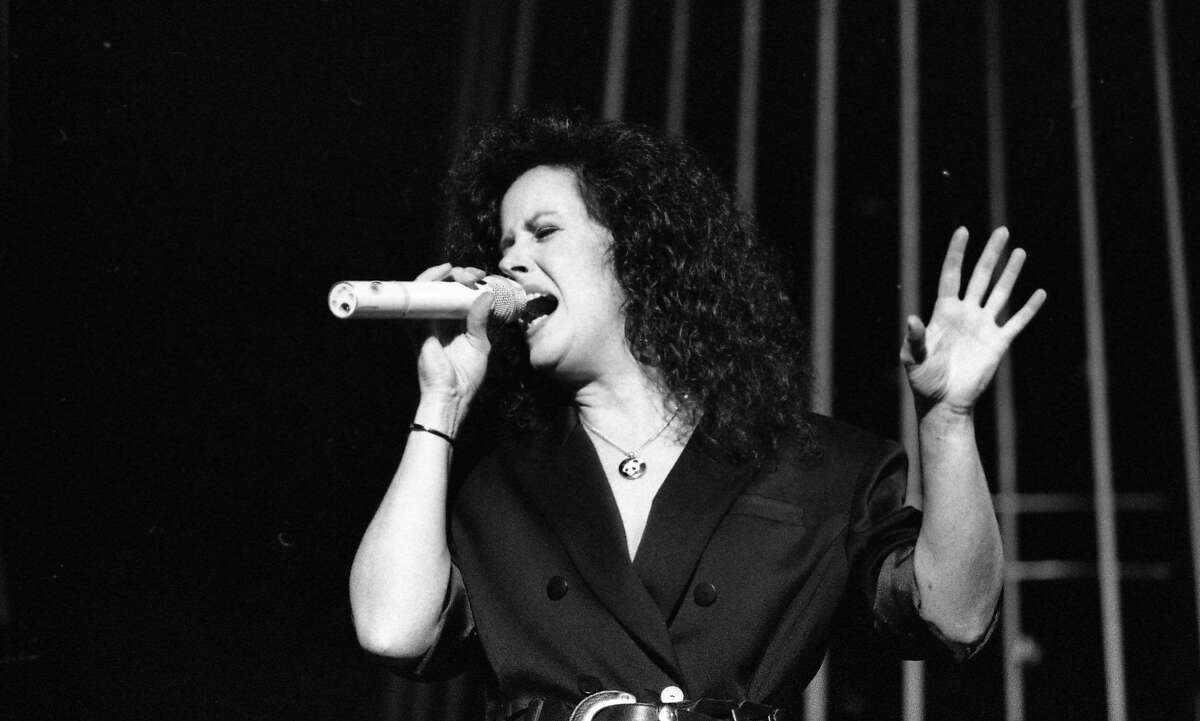 Grace Slick lead singer for the popular San Francisco band Jefferson Airplane, sings at a reunion show at the Greek Theater in Berkeley, September 22, 1989