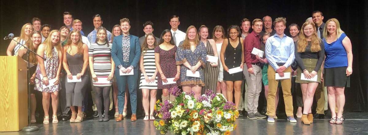 John Pettibone scholarships totaling $90,000 have been given this year to 38 graduates of New Milford High School. Recipients are shown above at the awards ceremony.