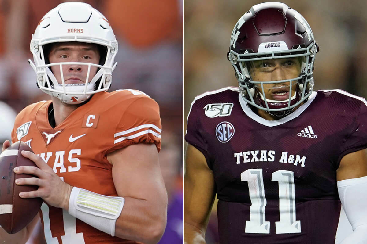 Texas quarterback Sam Ehlinger and his Texas A&M counterpart Kellen Mond face stiff tests this week when they take on top-10 foes LSU and defending national champion Clemson, respectively.