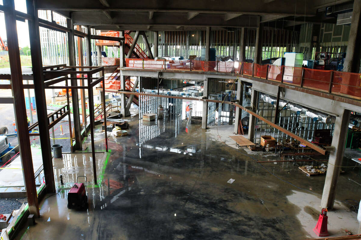 Construction work continues on the University at Albany's Emerging Technology and Entrepreneurship Complex at the Harriman campus on Tuesday, Sept. 3, 2019, in Albany, N.Y. The complex will house UAlbany's College of Emergency Preparedness, Homeland Security and Cybersecurity and the University's Department of Atmospheric and Environmental Sciences, Atmospheric Sciences Research Center and other UAlbany academic departments. The New York State Mesonet, an advanced weather-detection system, will also be housed in the complex. (Paul Buckowski/Times Union)
