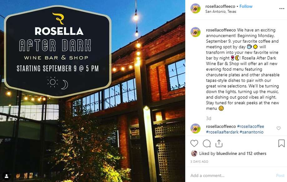"""Rosella After Dark will offer an all new evening food menu featuring charcuterie plates and other shareable tapas-style dishes to pair with our great wine selections,"" the social media announcement reads. ""We'll be turning up the music and dishing out good vibes all night."" Photo: Instagram Screengrab"