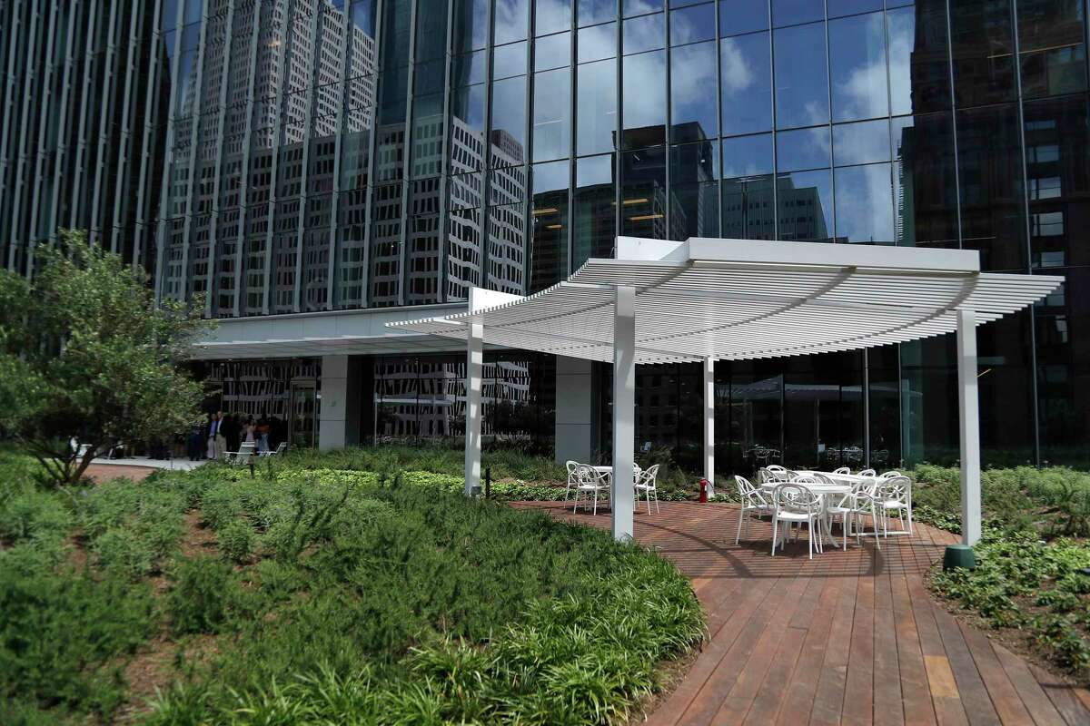 The outdoor area on the 12th floor of the Bank of America Tower, Wednesday, May 22, 2019. The Bank of America Tower, a 35-story office building and a development of Skanska in downtown, has been under construction for the last two years at 800 Capitol St.