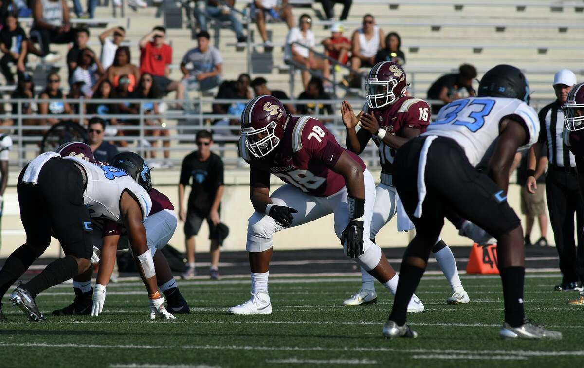Summer Creek sophomore offensive tackle Kelvin Banks (78) goes to work against Shadow Creek during the first quarter of their non-district season opener at Turner Stadium in Humble on August31, 2019.