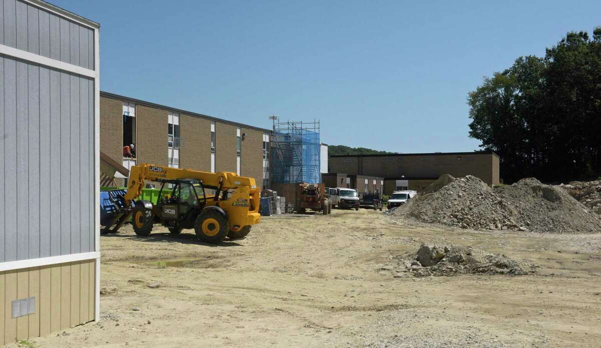 Rockwell School where renovation work will continue thru the school year. Friday,August 30, 2019, in Bethel, Conn.