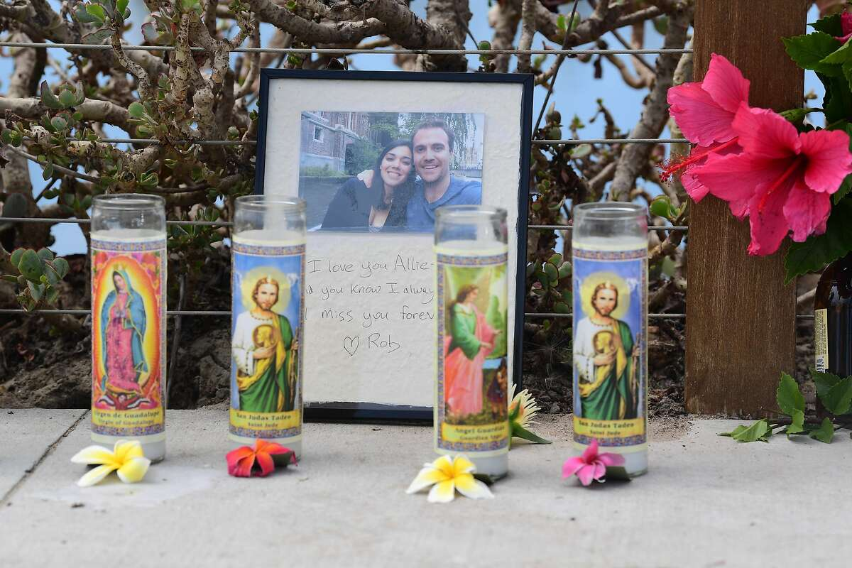 """A message reading in part """"I love you Allie"""" adorns a makeshift memorial for the victims of a scuba diving boat fire, on September 3, 2019, in Santa Barbara, California. - Authorities on Tuesday suspended the search for survivors of a scuba diving boat disaster in Santa Cruz Island off the California coast after recovering 20 bodies and spotting another four to six trapped in underwater wreckage. The bodies of 11 women and nine men were transferred to coroner offices following the disaster on September 2, when the 75-foot (23-meter) Conception caught fire and sank with passengers trapped below deck by the roaring blaze. (Photo by FREDERIC J. BROWN / AFP)FREDERIC J. BROWN/AFP/Getty Images"""