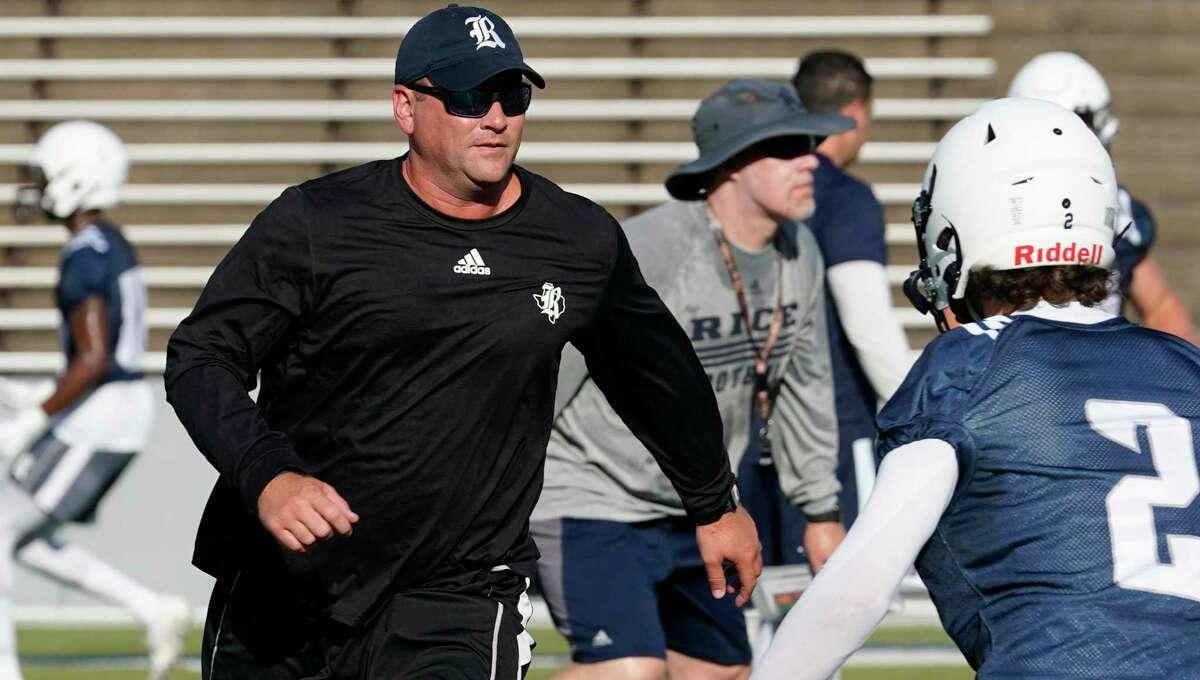 Rice coach Mike Bloomgren, at a preseason practice, has been a fan of Baylor coach Matt Rhule.