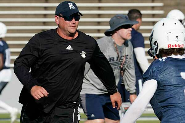 Rice coach Mike Bloomgren, at a practice in August, is confident of his team's progress after opening with a 14-7 loss to Army.