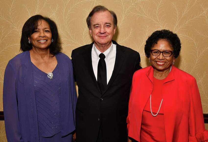 From left; Chair Dr. Donetta Goodall, Chancellor John Sharp and president Ruth Simmons at the Third-Annual Prairie View A&M Fundraising Gala at the Hilton Americas Hotel Friday Aug. 30,2019.(Dave Rossman Photo)