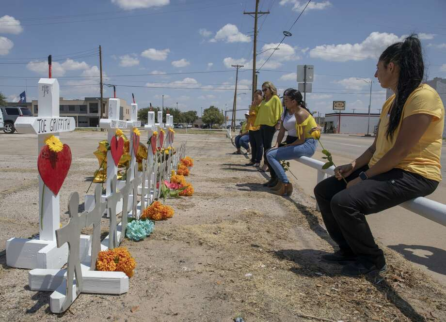 White crosses, made by Greg Zanis from Illinois, were placed on Tuesday, Sept. 3, 2019, at 2nd St. and Sam Houston. Photo: Jacy Lewis/Reporter-Telegram