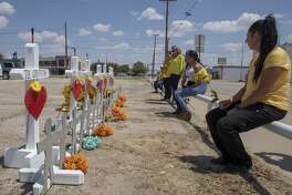 White crosses, made by Greg Zanis from Illinois, were placed on Tuesday, Sept. 3, 2019, at 2nd St. and Sam Houston.