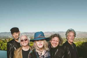 """Jefferson Starship headlines at the """"Rockin' for Adoption"""" music festival at Ives Concert Park in Danbury on Sept. 14. From left are Jude Gold (guitar), David Freiberg (guitar,vocals), Cathy Richardson (vocals, guitar), Chris Smith (keyboards) and Donny Baldwin (drums, vocals)."""