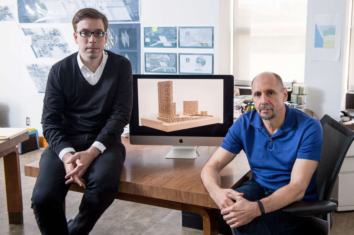 Research on mass timber construction by Jesús Vassallo, left, Rice's Gus Wortham Assistant Professor of Architecture, and Albert Pope, the Gus Wortham Professsor of Architecture, encouraged Rice University to consider the technique in plan to update Hanszen College. The university won a U.S. Forest Service grant to facilitate planning and approval of the proposed structure.