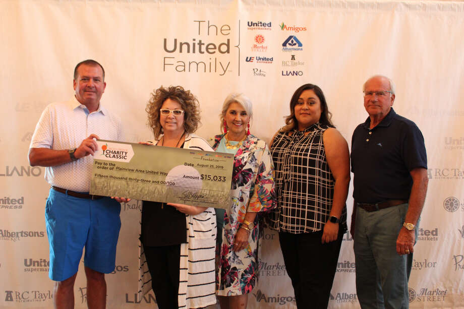 Plainview Area United Way representatives accept a check from The United Family. (left to right) Sidney Hooper, president of The United Family, Leigh Ann Bradley, Plainview Area United Way, Francis Berrera, Centennial Bank, Laura Villarreal, Wells Fargo, and Robert Taylor, The United Family CEO Photo: Courtesy Photo