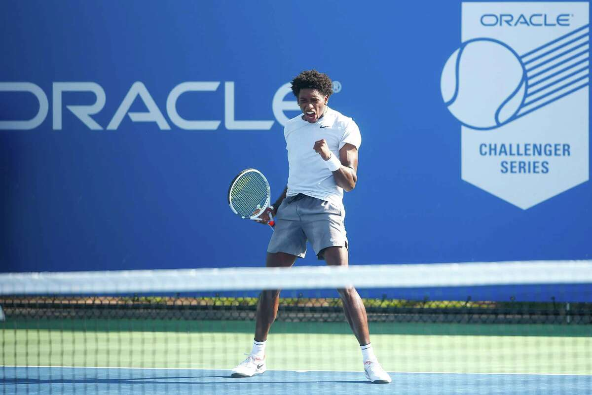 New Haven native Roy Smith at the Oracle Challenger Series event at Yale. Smith advanced with a three-set win over Felix Corwin Tuesday.