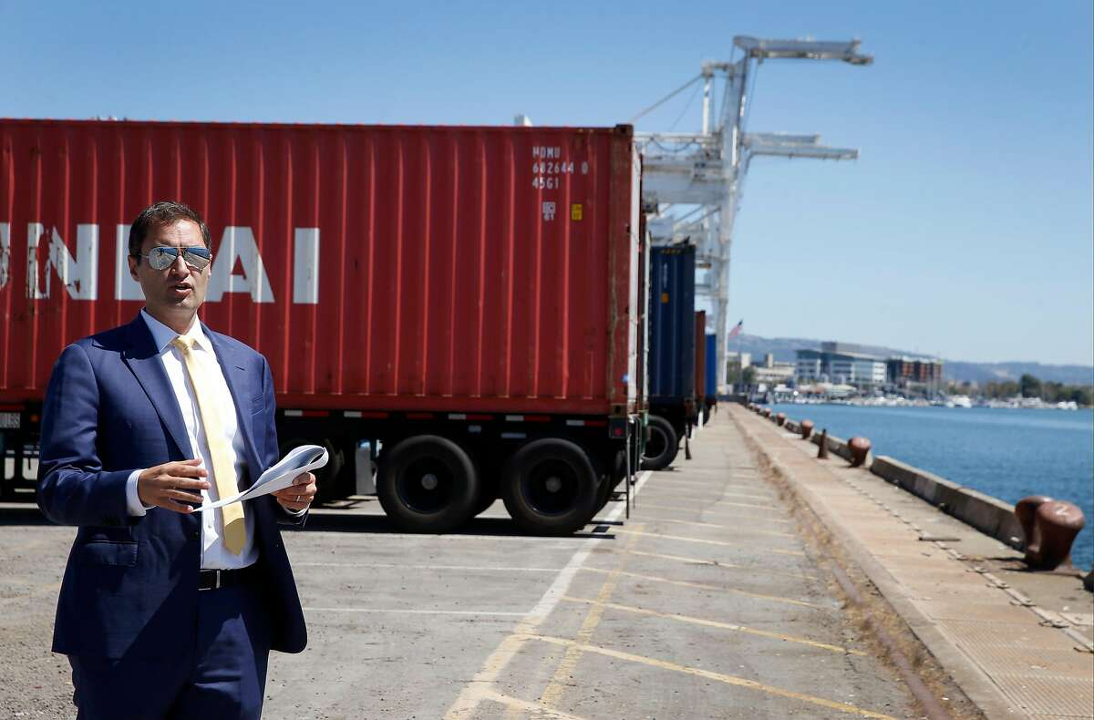 Oakland A's President Dave Kaval leads a private tour of the Howard Terminal site in Oakland, Calif. on Tuesday, Sept. 3, 2019 where the baseball team is hoping to build its new stadium.
