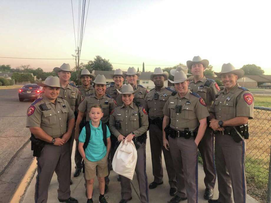 """Today, DPS Troopers accompanied Trooper Pryor's son to school. Showing support where it means the most "" Photo: Texas Department Of Public Safety - West Texas Region"