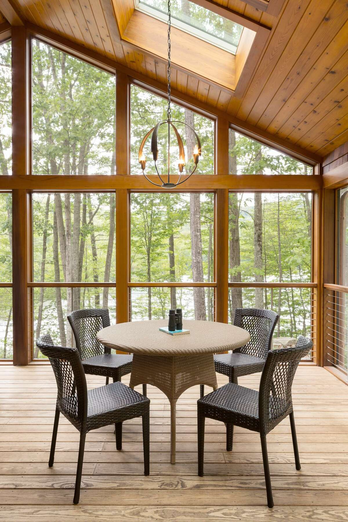 A true link between interior comforts and the great outdoors, this porch from Cambridge, Mass.-based Leslie Saul & Associates features skylights and wraparound windows that allow for stunning views and plenty of natural light.