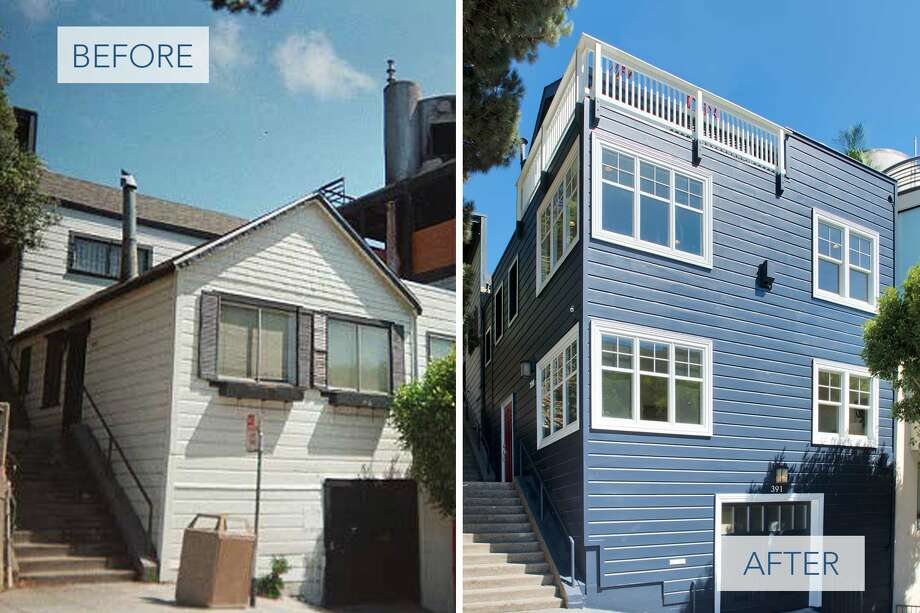 Before (left) and after (right) for the first time in 20 years, the three-bedroom, 2.5-bathroom home at 391 Filbert St. is on the market Photo: Compass Realty