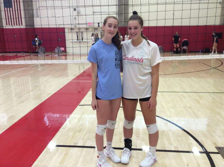 Ciara Munnelly, left and Lilly Saleeby are captains of the Greenwich High girls volleyball team. Photo: David Fierro /Hearst Connecticut Media